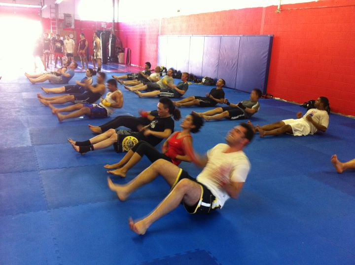 Ultimate Martial Arts Muay Thai Kickboxing ab circuit conditioning group circuit